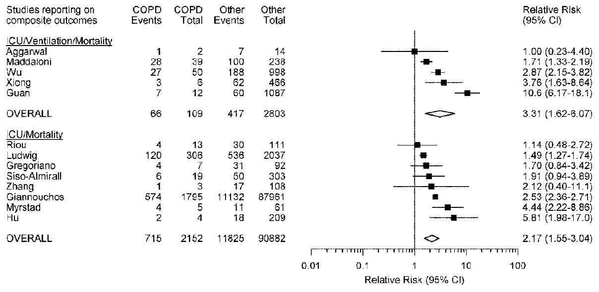 Figure 7: Relative risk, and corresponding 95% confidence interval, of composite adverse outcomes among coronavirus disease patients with chronic obstructive pulmonary disease